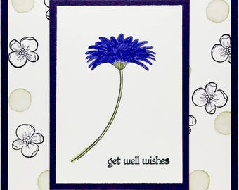 Get Well Card, Thinking Of You, Stampin Up Card, Handmade Card, Purple Flower Card, Greeting Card