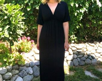 Black Maxi Dress, Tie Dye Maxi, Kimono Style Dress, Summer Maxi Dress, Dresses, Maxi, Solid S M L XL 2X 3X