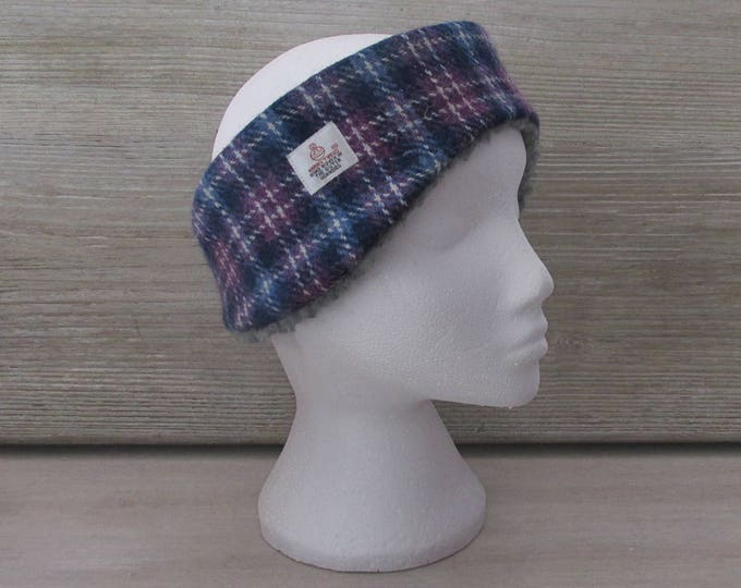 Harris Tweed Blue & Purple Check Luxury Ear Warmer Headband