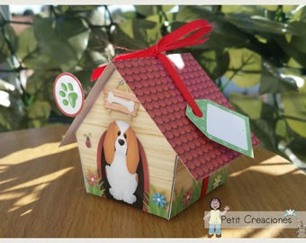 "PRINTABLE GIFT box ""Dog House Garden"" DIY, treat box, place holder, gift idea for party"