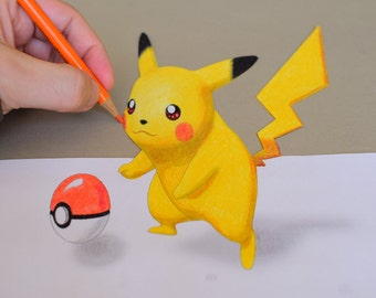 3D Illusion Coloring Page ~ Pikachu by Stop-mashina (3D Anamorphic Art, Coloring Pages, Adult Coloring Pages, Coloring Pages Kids)