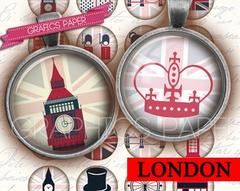 "London Circle Images, Digital Collage Sheet 1 inch circles, 1.5"", 1.25"", 30mm, Jewelry Making, Bottle Caps, Arts and Crafts, Supplies - td9"