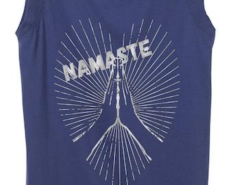 Namaste Yoga Shirt - Prayer Hands - Dark Periwinkle