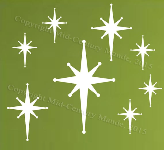 Star Burst Wall Decals Retro Mid Century Modern Vinyl Fabric