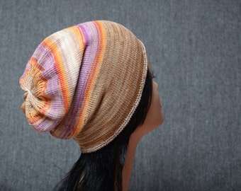Cotton knit hat colorful slouchy beanie teen hat knitted hat cotton beanie gift women summer hat knit beanie
