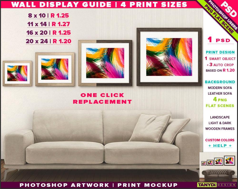 Wand-Display Guide 4 drucken Größen Photoshop Mockup 8 x