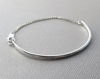 Bar & Chain Bracelet, Minimalist Bracelet, Sterling Silver Bracelet,Minimalist Jewelry,Modern Jewelry, Stacking Bracelet,Curved Bar Bracelet