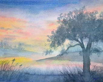 Twilight Song; Original Landscape Watercolor Painting, 11x14 inch