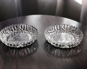 Etched Glass Iris Candy Dishes - Set of 2