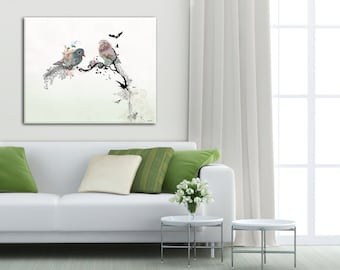 Large Print on Canvas, Large Wall Art, Watercolor Painting, Love Birds, Wall Art with Birds, Print of Original Painting, Large Painting