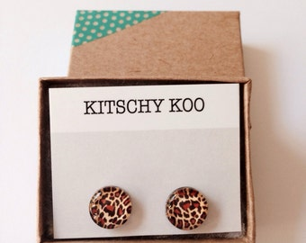 FREE SHIPPING - Leopard Print Earrings - Surgical Steel - Animal Print Earring Studs - Sensitive Ears