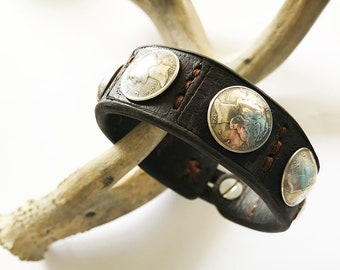 Mens Leather Bracelet - Silver and Leather bracelet made with vintage silver coins