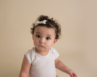 White leather Bow headband - baby girl - little girl headband - white bow headband - newborn girl photo prop headband - elegant bow headband