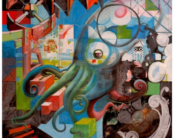 Original Art Print, Modern Art Print, Psychedelic Artwork, Sacred Geometry Painting, 8-bit, pixelated