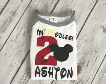 Mickey Mouse Shirt Boys Mickey Mouse Birthday shirt Boys Second Birthday shirt Oh Twoodles Birthday Shirt I'm 2 Mickey Birthday Shirt