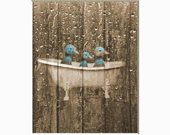 Rustic Country Vintage Bathroom Wall Decor, Ducks In Bathtub Rustic Brown Blue Home Decor Matted Picture
