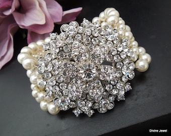 bridal bracelet pearl and rhinestone Statement Bracelet vintage style Wedding bracelet Rhinestone Bracelet  pearl bridal jewelry KENZIE