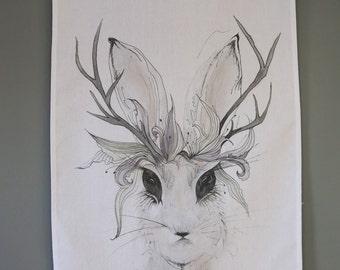 Wild Rabbit Tea Towel