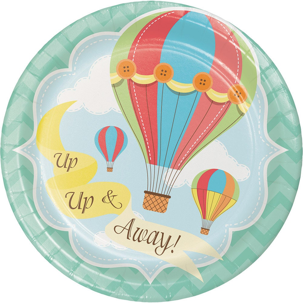 Up up and away dessert plates hot air balloon paper plates zoom jeuxipadfo Choice Image