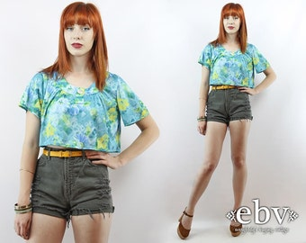 Vintage 90s Floral Crop Top S M L Cropped Top Midriff Top Cropped Shirt Cropped Blouse Summer Top Blue Crop Top Hippie Crop Top