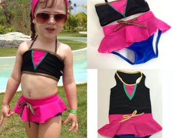 Pre order only, pink and gold princess swimsuit
