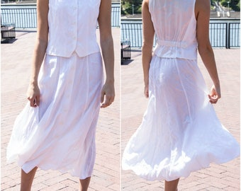 Casual Wedding Dress - 2 Piece Set - 2 Piece Wedding Dress - Boho Bridal Dress - 2 Piece Dress - White Midi Dress - White Vintage Dress
