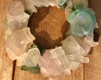 Sea Glass Wreath 8.5 Inches Made with Cape Cod Genuine Surf Tumbled Beach Glass Christmas Beach Holiday Ocean Cottage Decor