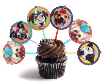 Mutts Dogs Cupcake Toppers - set of 6 - party decorations for mixed-breed rescue dog lovers