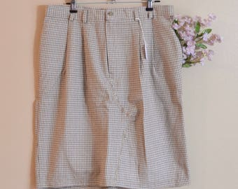 """Vintage Plaid Skirt Pencil High Waisted Large, 31"""" Trouser Skirt Vintage Upcycled Clothing Womens Plus Size"""