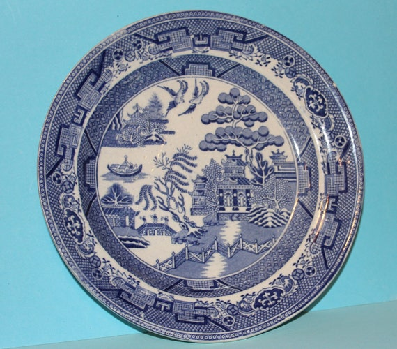 Antique Early Staffordshire Stone China Blue Willow Pattern Plate /Made in England  sc 1 st  Etsy & Antique Early Staffordshire Stone China Blue Willow Pattern