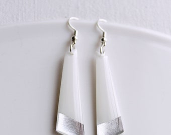 geometric dangle earrings white and silver earrings record earrings long earrings minimalist earrings contemporary gift idea for her