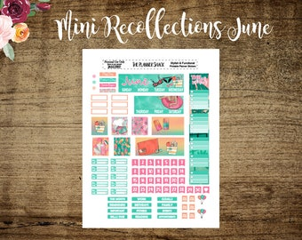 Mini Recollections June Monthly | Mini Recollections | June | Printable Planner Stickers | Planner Printables | Cut File | Summer | Pool Day