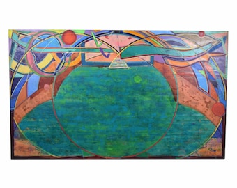 "1989 Large Abstract Painting ""Vessel of Light #43"" Martin Facey California Artist"