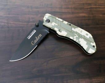 Groomsmen Gift, Engraved Knife, Wedding, Engraved Pocket Knife, Groom, Ring Bearer, Engraved Gift, Desert Camo Knife