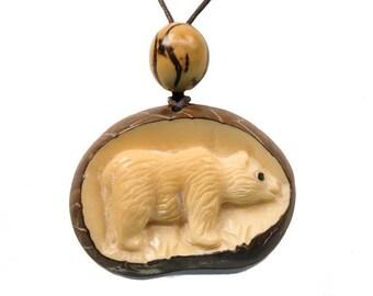 Tagua Nut Necklace: Bear (1153-N383)