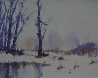 Winter Reflections I, an original watercolour painting by Alfredo Mella