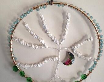 Tree of life sun catcher, crystal moon, handmade, one of a kind