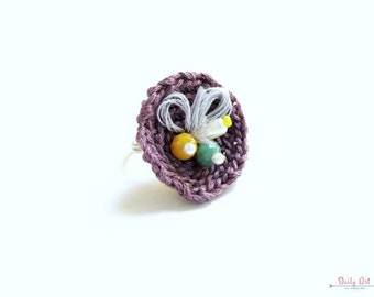 Purple, flower inspired, crochet ring, round, embroidery, bohemian style