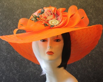 Tangerine Del Mar Hat, Kentucky Derby Hat, Easter Hat, Garden Party Hat, Tea Party Hat, Church Hat, Downton Abbey Hat, hat Tangerine Hat 091
