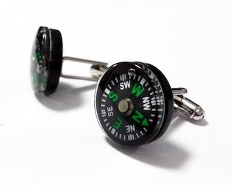 cufflinks with working compass