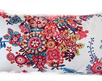 Pillow Cover - Pink - Red - Blue -White - Floral - Decorative - 12x24 - Lumbar pillow cover