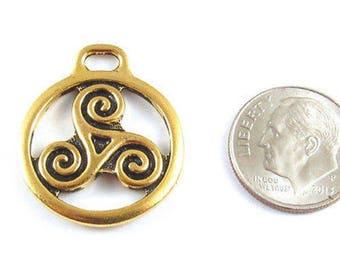 TierraCast Pewter Pendant-Gold Large OPEN TRISKELE (1 Piece)