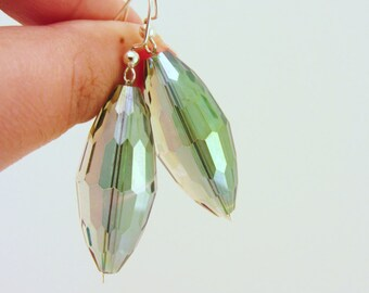 Dangle earrings, drop earrings. Iridescent. Statement earrings. Gift for women. Silver earrings. Green gray blue shimmer. Faceted beads.
