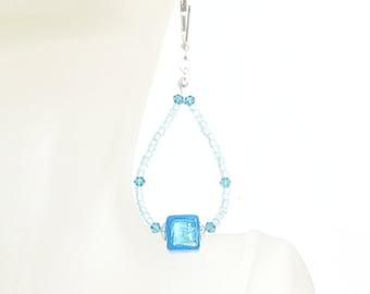 Murano Glass Long Hoop Earrings, Aqua Earrings, Cube, Venetian Jewelry, Italian Jewelry, Clip-Ons, Sterling Silver Leverbacks, Post Earrings