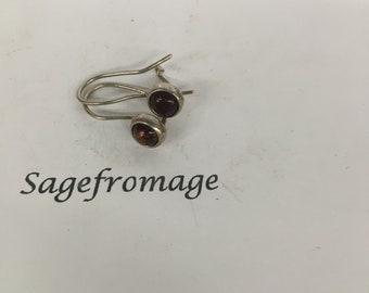 Sterling Silver and brown rhinestone, pierced Earrings