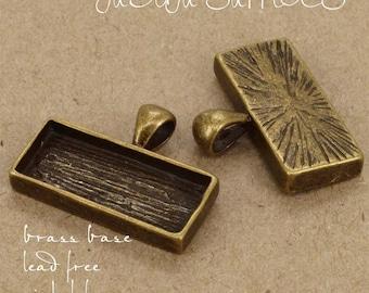 20pcs 12x27mm horizontal antique bronze  Pewter blank bezel rectangle Pendant Tray