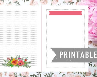 Printable planner insert journal page Floral