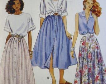 Full Skirt Sewing Pattern,  McCalls 6407, Button Front Skirt, Pleated Skirt