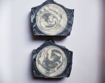 tea tree + activated charcoal moon and sky soap