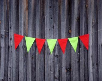 Party Banner / Colorful Banner / Decor / Linen Banner / Party decor / Garden party / Party Signs / Red banner / Green banner / Star banner